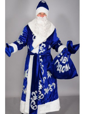 Карнавальный костюм Дед Мороз бархат синий