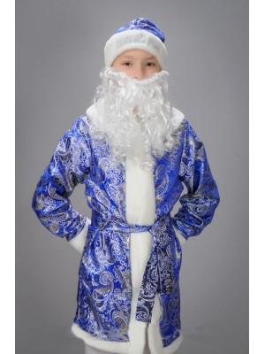 Детский карнавальный костюм Дед мороз детский синий