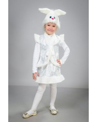 Детский карнавальный костюм Зайчик девочка парча белый