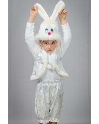 Детский карнавальный костюм Зайчик мальчик парча белый