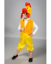Детский карнавальный костюм Петушок атлас желтый