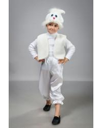 Детский карнавальный костюм Зайчик мальчик атлас белый