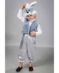 Детский карнавальный костюм Зайчик мальчик атлас серый