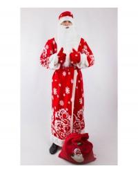 Карнавальный костюм Дед Мороз (взрослый) красный с узором
