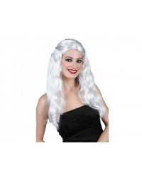 Парик белый с длинными волосами