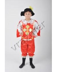 Карнавальный костюм Мушкетер Гвардеец (красный с тканевой шляпой)