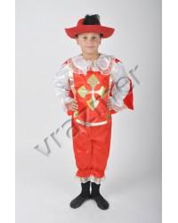 Карнавальный костюм Мушкетер Гвардеец (красный +жесткая шляпа)